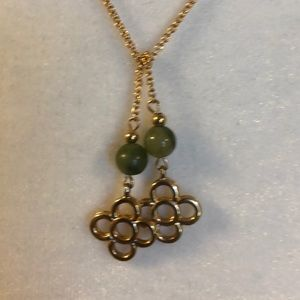 Vintage green bead chain necklace